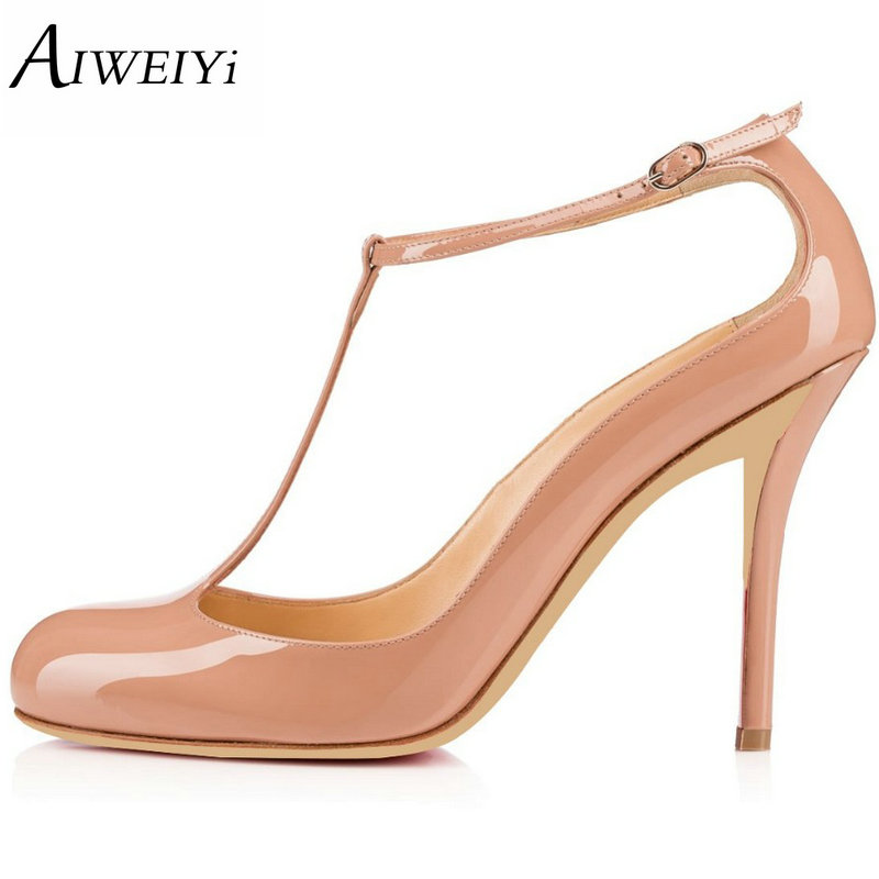 AIWEIYi Shoes Woman 2017 New High Heels Spring Ladies Pumps Summer Round toe T Strap Ankle Strap Ladies Wedding Shoes square heels 7 5 cm sapatos femininos high heels shoes woman round toe patent leather spring pumps t strap comfortable shoes