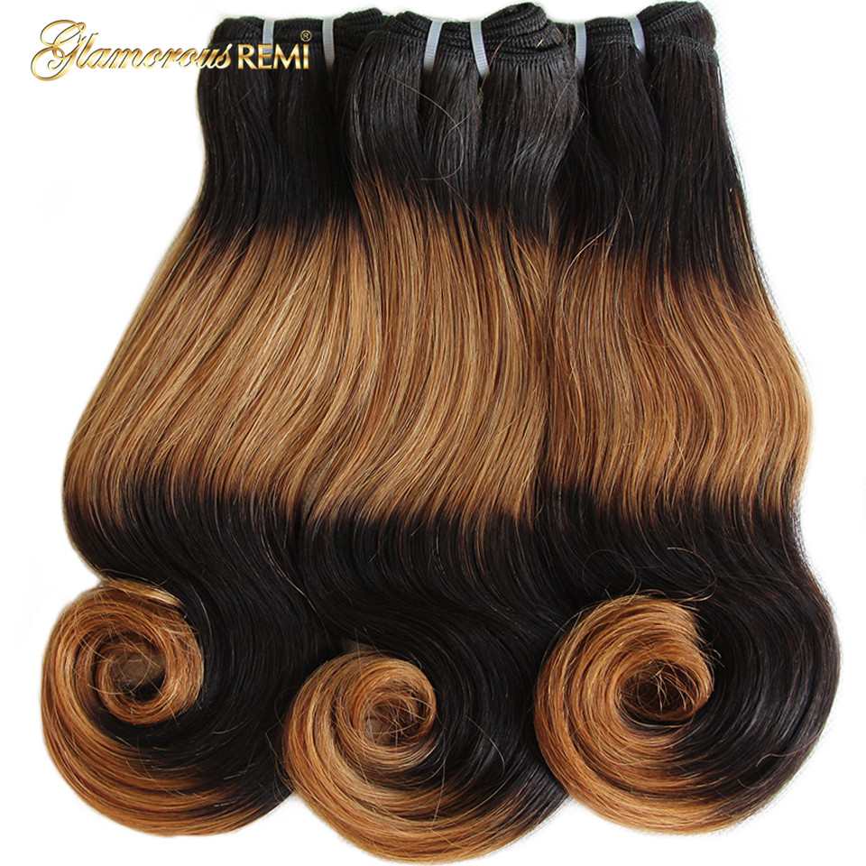 Funmi Double Drawn Body Wave Remy Human Hair Weft Ombre 4 Tone #1B #30 Brown Color Fumi Hair 3 Bundles Hair Weave Bundle Deals