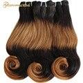 Funmi doble onda de cuerpo dibujado Remy trama de cabello humano Ombre 4 tonos # 1B #30 Color marrón Fumi cabello 3 Paquetes de extensiones de cabello