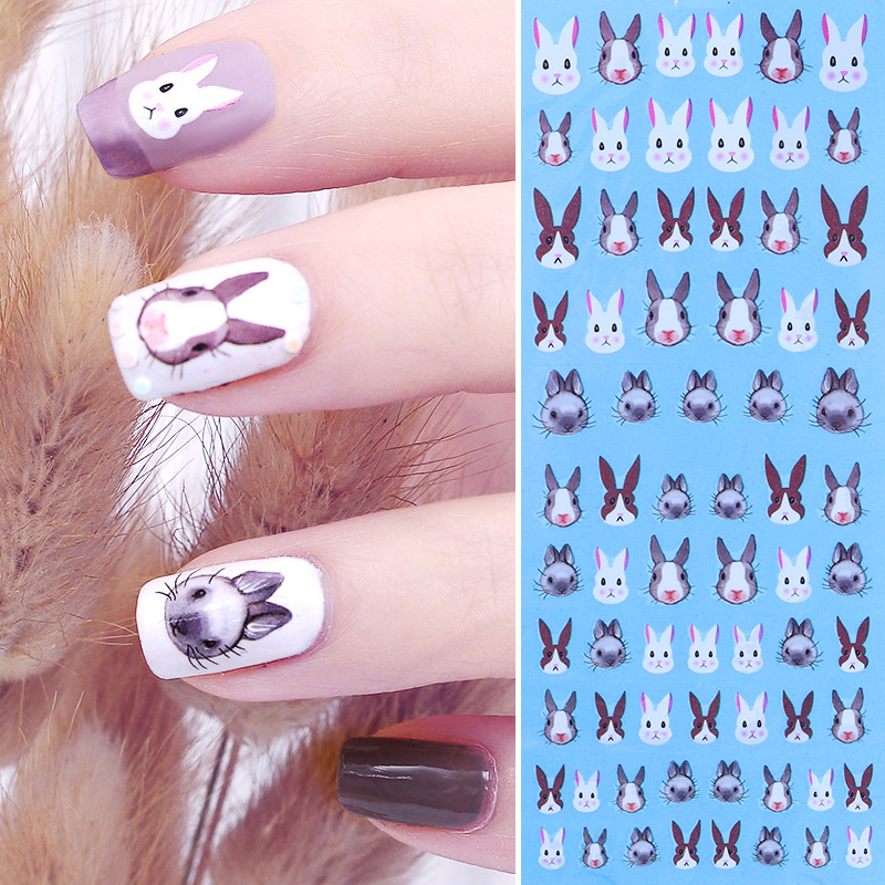 BORN PRETTY Rabbit Water Decal Kawaii Bunny Nail Art Transfer Sticker 12.8*5.5cm DIY Nail Decoration