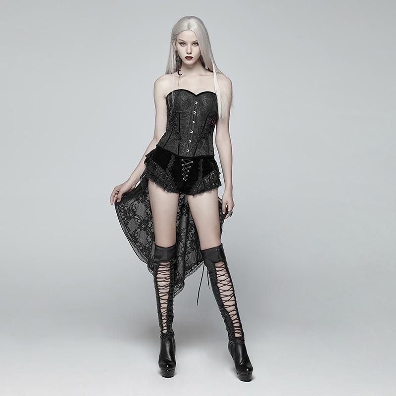 PUNK RAVEwomen Gotico Shorts Coda di Rondine Shorts di Modo Retro Allacciatura Vittoriano Sexy Palazzo Steage Prestazioni Shorts - 4