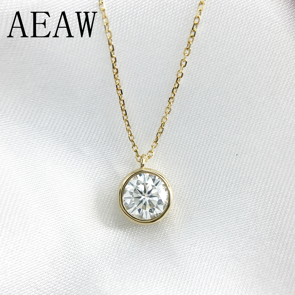 6.5mm Round Cut Simple Bezel Set Solitaire 14k Yellow Gold Moissanites Necklace Fine Jewelry Necklace Chain6.5mm Round Cut Simple Bezel Set Solitaire 14k Yellow Gold Moissanites Necklace Fine Jewelry Necklace Chain