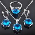 Flower Blue Stone Zirconia Women's 925 Silver Jewelry Sets Earrings/Pendant/Necklace/Rings Free Shipping QZ007