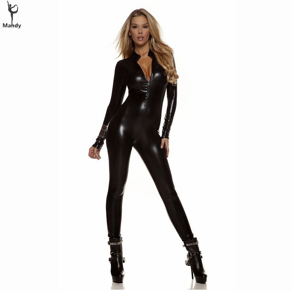 Adult Spandex Sexy Wet Look Womens Turtleneck Metallic Black Zentai Catsuit Zip Front Unitards Clubwear Stripper Costume XXXL