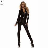 Người lớn Spandex Sexy Wet Look Womens Cao Cổ Kim Loại Đen Zentai Catsuit Zip Front Unitards Clubwear Stripper Trang Phục XXXL