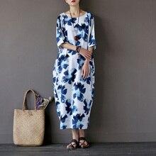 Women Summer Dress 2017 New Fashion Print Robe Dress Cotton linen Loose Plus Size Women Long Dress