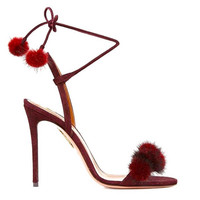 Fairy Shoes Summer New Roman Shoes Red High Heel Thin With Mink Hair Strap Sandals Round Head Hair Ball With Velvet Face