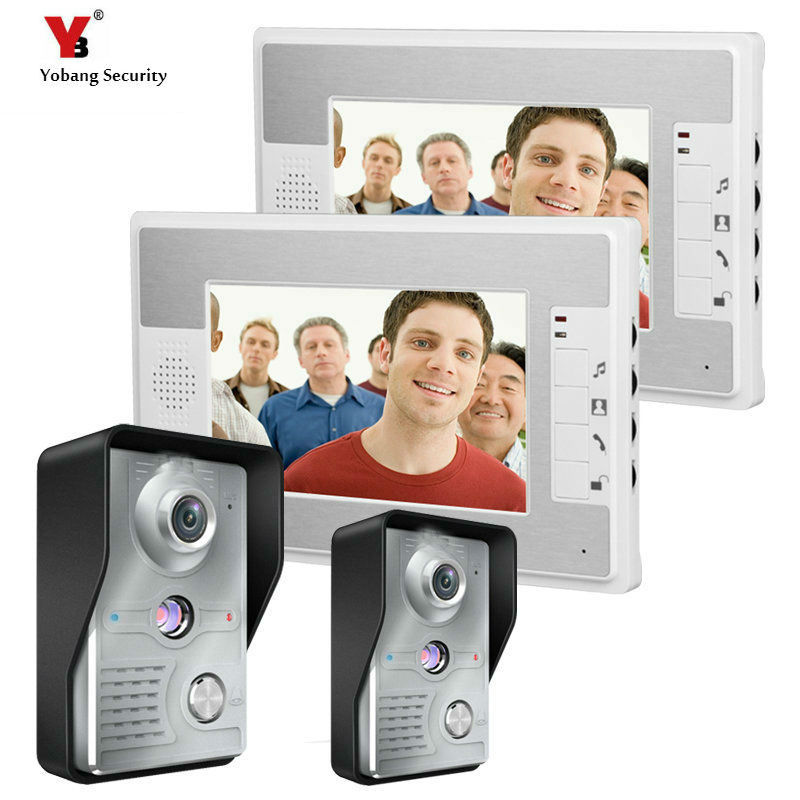 Yobang Security 7 Inch Video Door Phone Doorbell video Intercom 2 camera 2-monitor Night Vision door bell camera video Intercom new 7 inch color video door phone bell doorbell intercom camera monitor night vision home security access control
