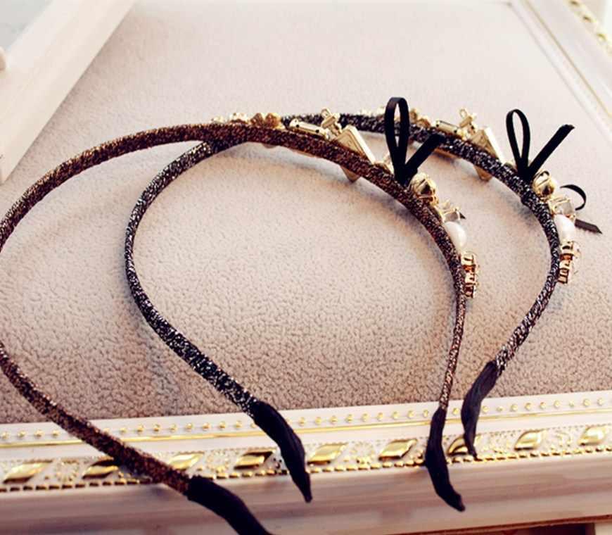 Fanssee جديد ملون حجر الراين زهرة الشعر هوب العصابة hairband للنساء الفتيات الحافة الشعر الفرقة اكسسوارات للشعر