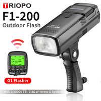 TRIOPO F1-200 TTL 2,4G HSS 1/8000 s bolsillo luz Flash exterior 200Ws con disparador G1 2900 mAh linterna de batería de litio PK AD200