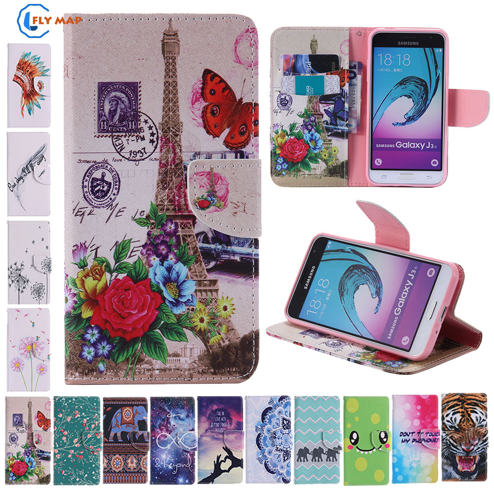 Galleria fotografica Coque For Samsung Galaxy J3 J 3 2016 J320 J320F J320FN Phone Leather Flip Case Cove For Samsung Galaxy SM J320F J320f/ds Capa