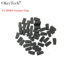 Okeytech 50pcs/lot Wholesale High Quality Car Key Chip T5 ID20 Carbon Ceramic Transponder ID T5-20  Original New Blank