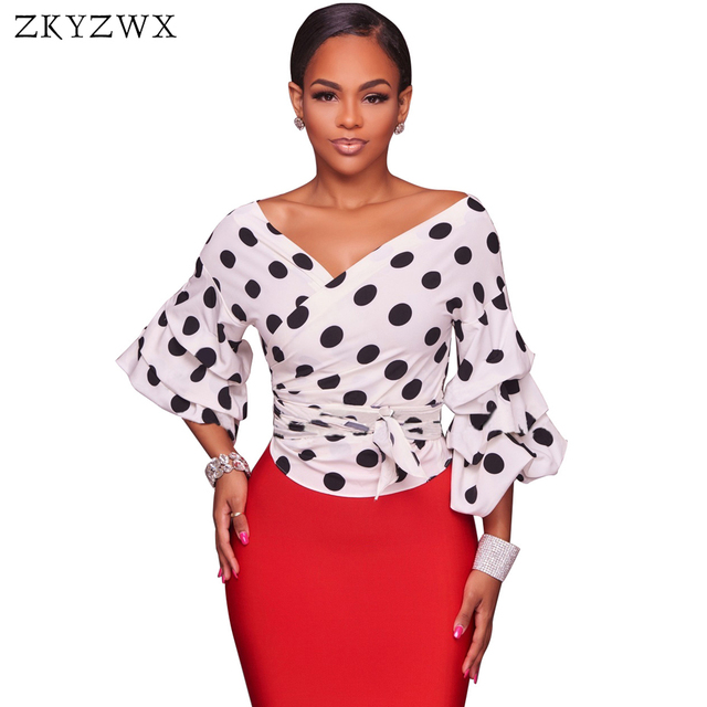 05c89044c3d14 ZKYZWX Sexy Polka Dots Blouse 2018 Summer New Casual Deep-V Top Clothes  Black White