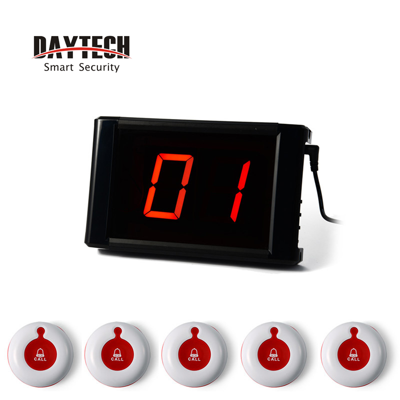 Wireless Calling system 433MHZ Waiter Call Bell Button for Restaurant Customer Table Pager Hospital Service restaurant wireless table bell system 1 counter monitor 5 wrist watch pager 40 button 3 key call bill cancel