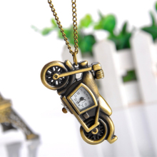 Cindiry Fashion Bronze Motorcycle Motorbike Pocket Fob Watch with Necklace Womens Pendant Watches Steampunk Gift P35