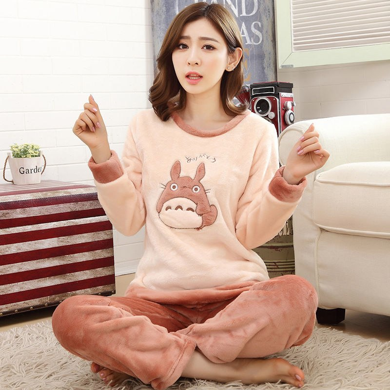 High Quality Women Pajama Sets Winter Soft Thicken Cute Cartoon Flannel Sleepwear 2 pcs/Set Tops + Warm Pants Home Clothes Mujer 85