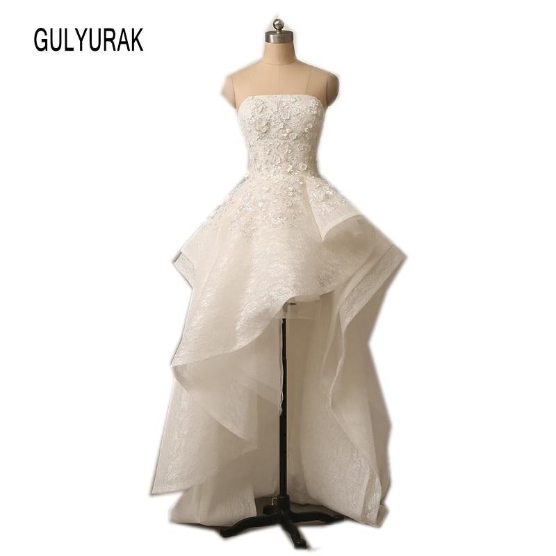 Vestidos De Fiesta 2018 Elegant Strapless Lace Muslim Arabic Prom Dresses High Back Low Front Applique Ball Gown Formal dresses