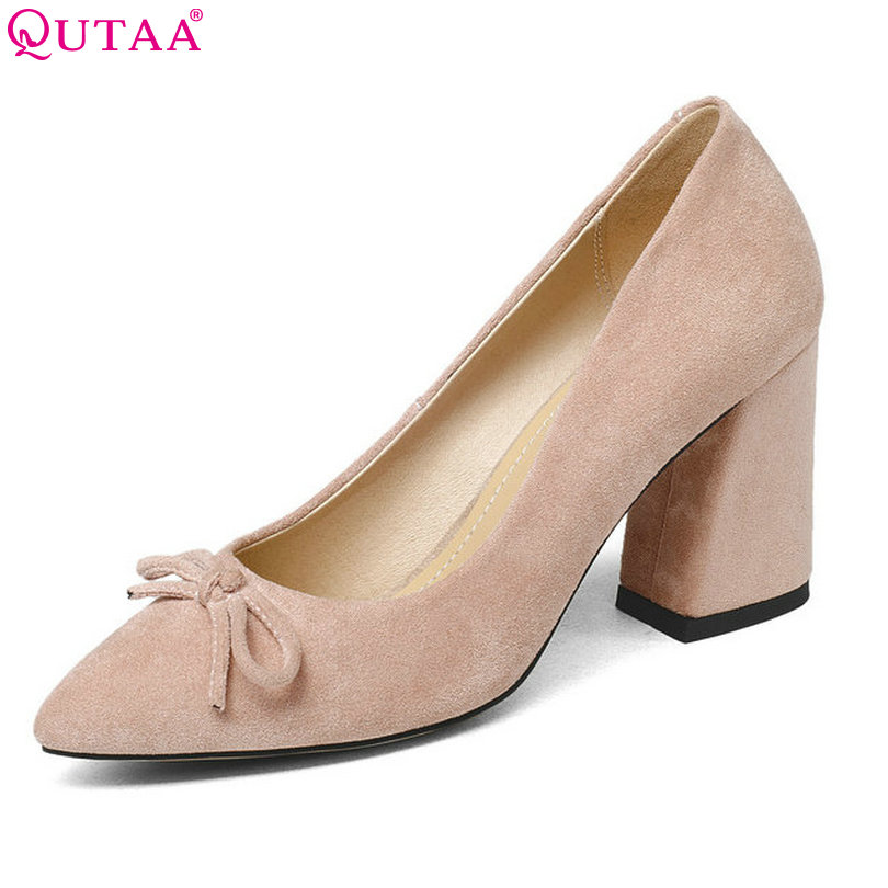 QUTAA 2018 Women Shoes Flock Hoof High Heel Platform Women Pumps Black Square heel Fashion Ladies Wedding Woman Shoes Size 34-43 esveva 2017 women pumps mary janes spring autumn shoes square high heel pumps flock party wedding women shoes big size 34 43