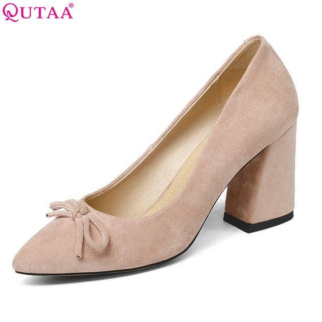 QUTAA 2020 Women Shoes Flock Hoof High Heel Platform Women Pumps Black Square heel Fashion Ladies Wedding Woman Shoes Size 34-43