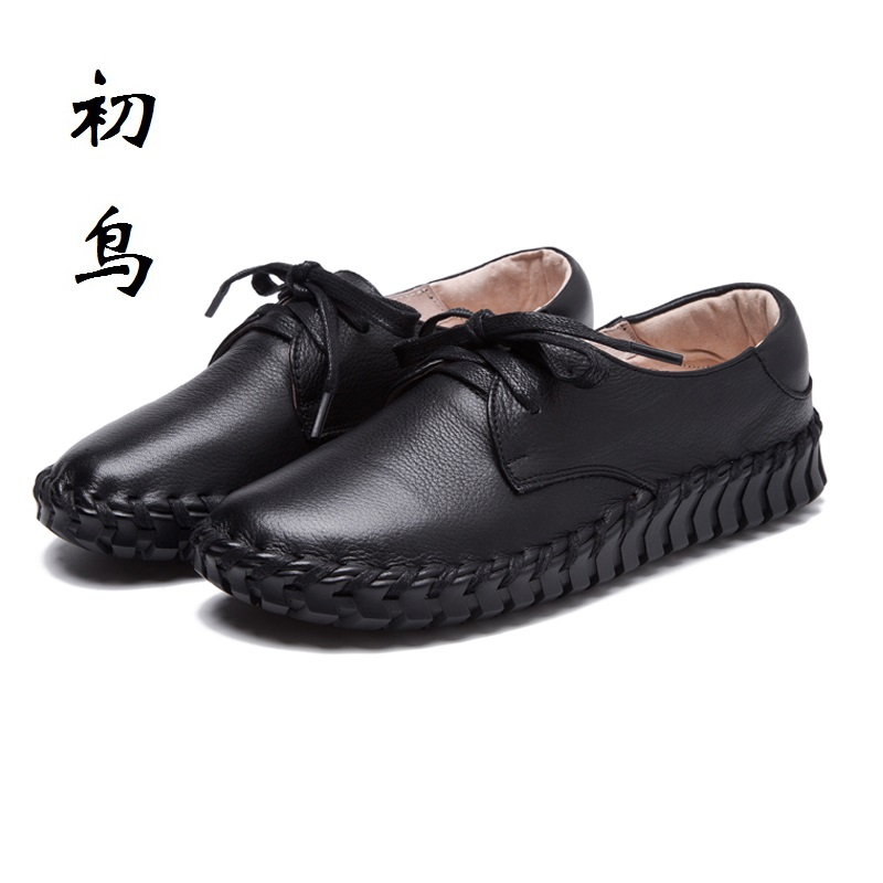 2017 Fashion Lace-up Genuine Leather Loafers Leisure Women Flats Creepers Platform Shoes Woman Espadrilles Chaussure Femme qmn women genuine leather platform flats women lace cut glossy leather square toe brogue shoes woman lace up leisure shoes 34 39