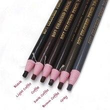 1 шт. Водостойкий карандаш для бровей, резка, натуральный стойкий карандаш для бровей, черный, коричневый, кофейный, микроблейдинг, Перманентный макияж для бровей