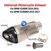 60MM Inlet Motorcycle For BMW S1000RR Carbon Fiber Exhaust Pipe Muffler Slip On Exhaust With DB Killer 2015 2016 2017 Year