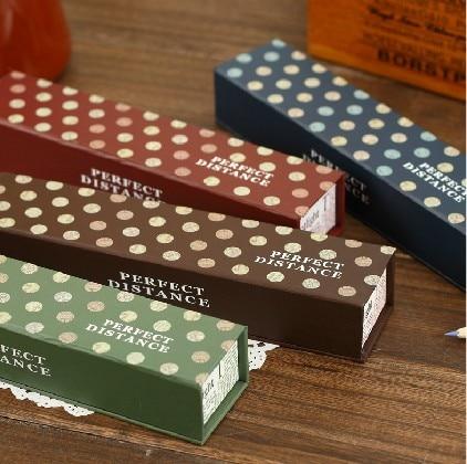 Korea stationery brief solid color dot paper stationery box pencil box paper pencil case paper pencil case