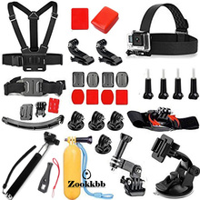 Zookkbb For Gopro Accessories Kit 28 in 1 Head Chest strap Monopod Floating Handle Grip Base for Gopro Hero4+ 4 3+ 3