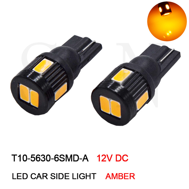 цена на T10 W5W 194 168 5730 5630 6 SMD Led Bulbs Car Reading Clearance Lights License Plate Lights Orange Amber 12V DC