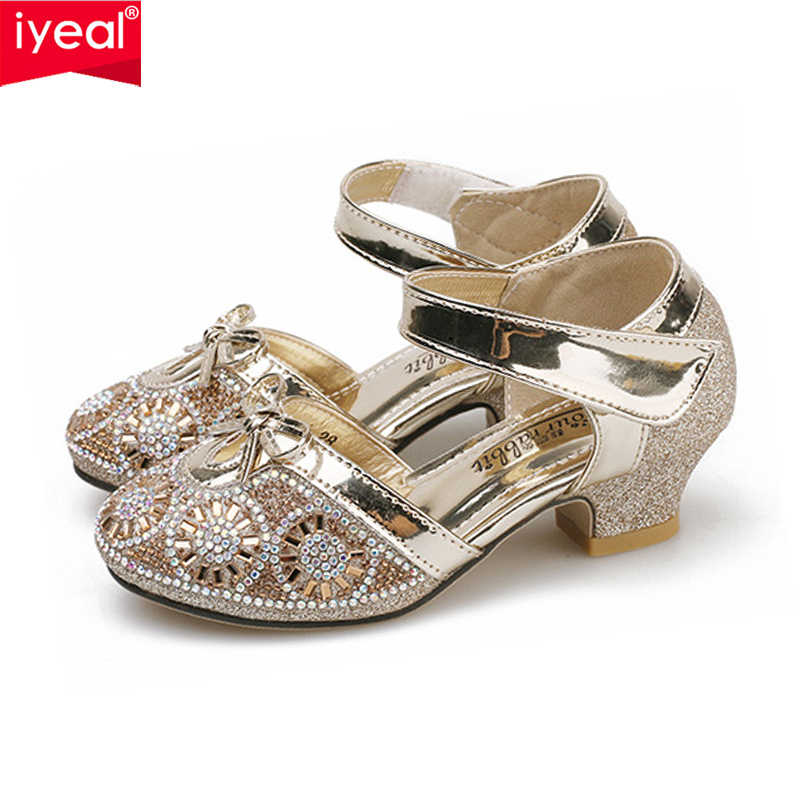 IYEAL Girls Leather Wedding Shoes Baby Children s Sequins Princess Kids  High Heels Dress Party Shoes for 6eee6266f01c