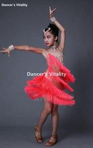 Image 5 - New Children Latin Tassel Dancing Skirt Childs Rumba Samba ChaCha Latin Competition Dance Dresses Latin Costumes For Girls
