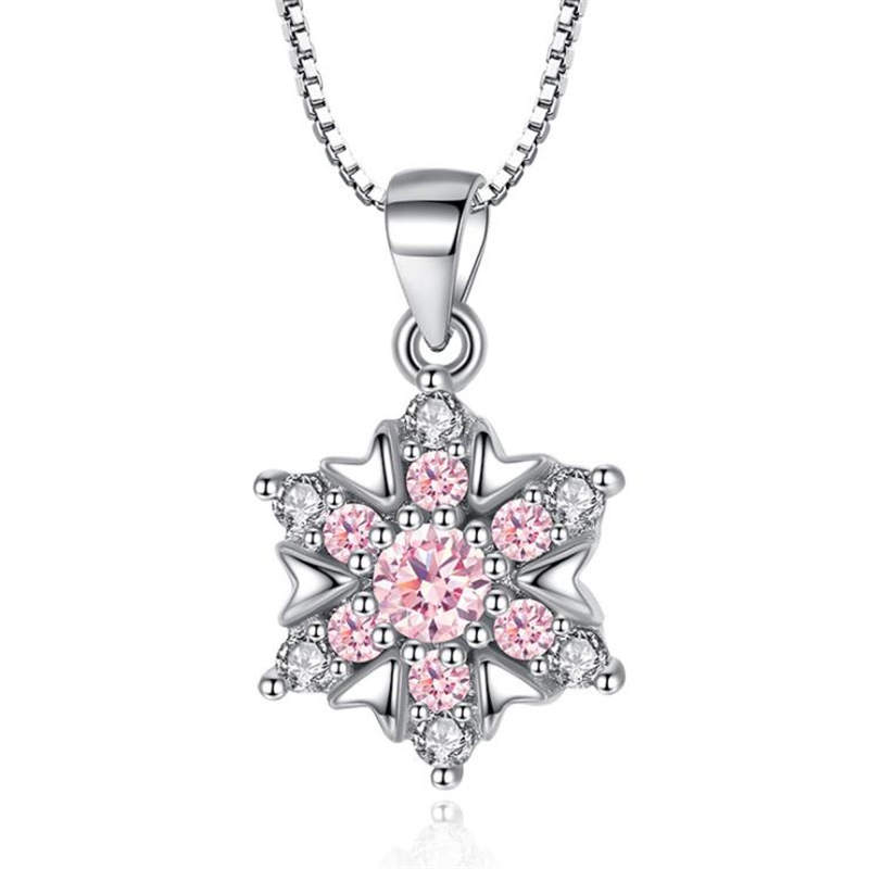 ONEVAN Luxury Pink Crystal Shiny CZ Flower Pendant Necklace Charm 925 Silver Necklaces For Women Christmas Party Jewelry Gifts