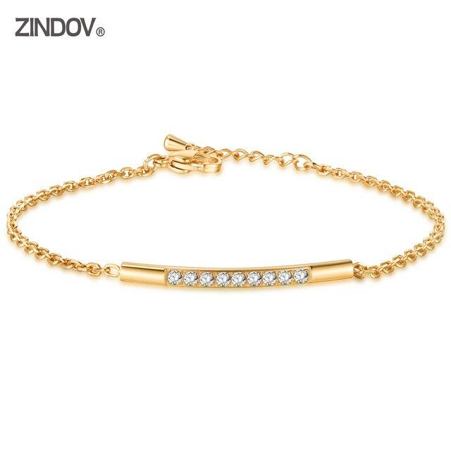 ZINDOV נשים צמיד זהב קריסטל CZ נירוסטה תכשיטי קישור שרשרת צמידי נקבה אבזר עלה זהב