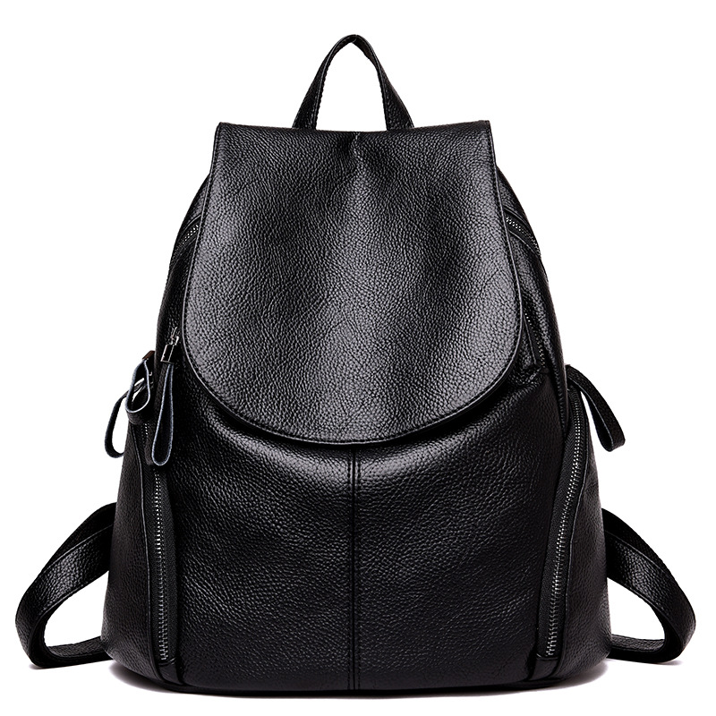 Chu JJ Genuine Leather Womens Backpacks Women Shoulder Bags Girls Preppy Style Women Casual Back Packs Travel Bag
