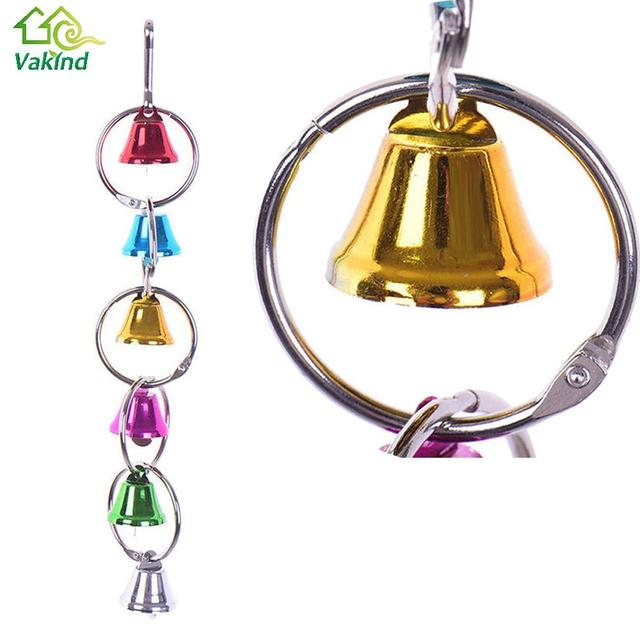 Colorful Parrot Bird Toys Metal Ring Bell Hanging Cage 2