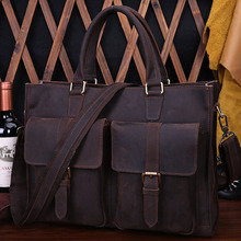 Vintage Men Crazy Horse Genuine Leather Handbag Messenger Shoulder Laptop Bag Purse Flap Pocket Male Vintage Messenger Bag 9093