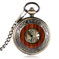 Vintage Carving Wood Hand Winding Mechanical Fob Pocket Watch Transparent Skeleton Dial Bronze Pendant Chain Retro