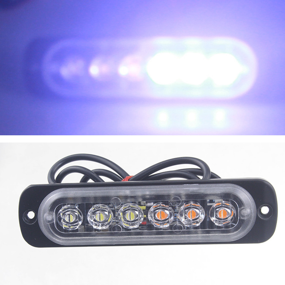 Car Led Light Amber 6 LED Car Truck Emergency Beacon Warning Hazard Flash Bar Drop Shipping JUN7