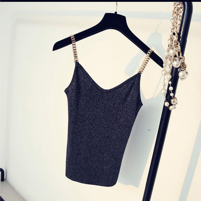 Women Summer Knitted V-Neck Tank Stretchy Camisole Sleeveless Tops Fashion Slim Sexy Solid Color Crop Top