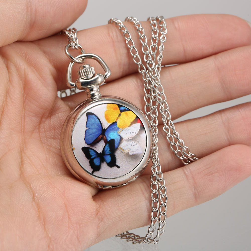 1 Pcs Retro Quartz Pocket Watch Butterfly Printed Case with Chain LXH