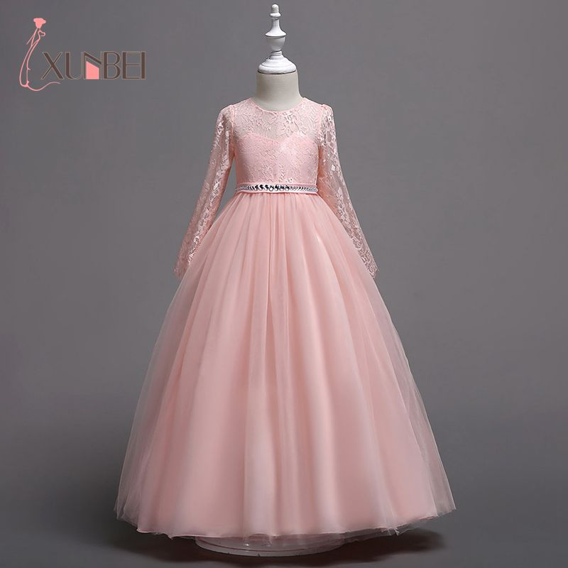 New Arrival Princess Long Sleeves Pink Lace Flower Girl Dresses Girls Pageant Dress First Communion Dresses Party Gown