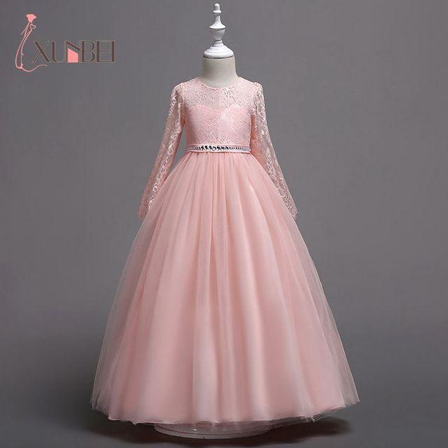 Nieuwe Aankomst Prinses Lange Mouwen Roze Kant Bloem Meisje Jurken Meisjes Pageant Jurk Eerste Communie Jurken Party Gown