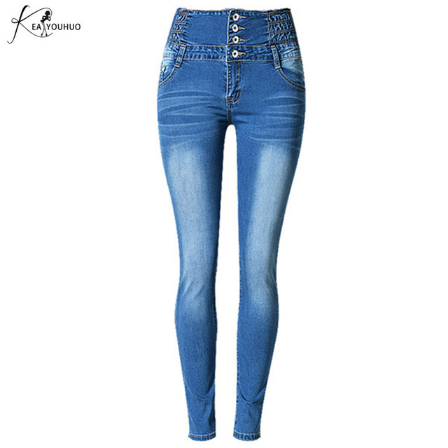 e2cba6ea9de8ab Nouveau 2018 mode taille haute Push Up copain Jeans pour femmes Denim  crayon Pantalon Jeans Femme