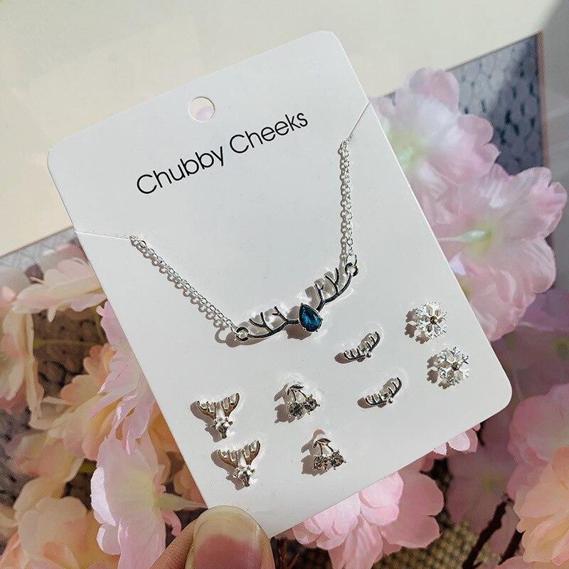 Модные корейские серьги-гвоздики, имитация жемчуга, пентаграмма, олень, рыбий хвост, крест, снежинка, сердце, серьги, колье, женские подарки, ювелирные изделия