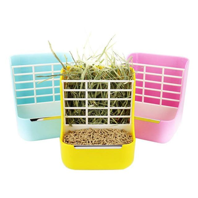 SaiDeng Two-in-one Pet Food Feeder/Grass Rack Fixed Feeding Bowl for Hamster Rabbit Small Animal Supplies-30 2