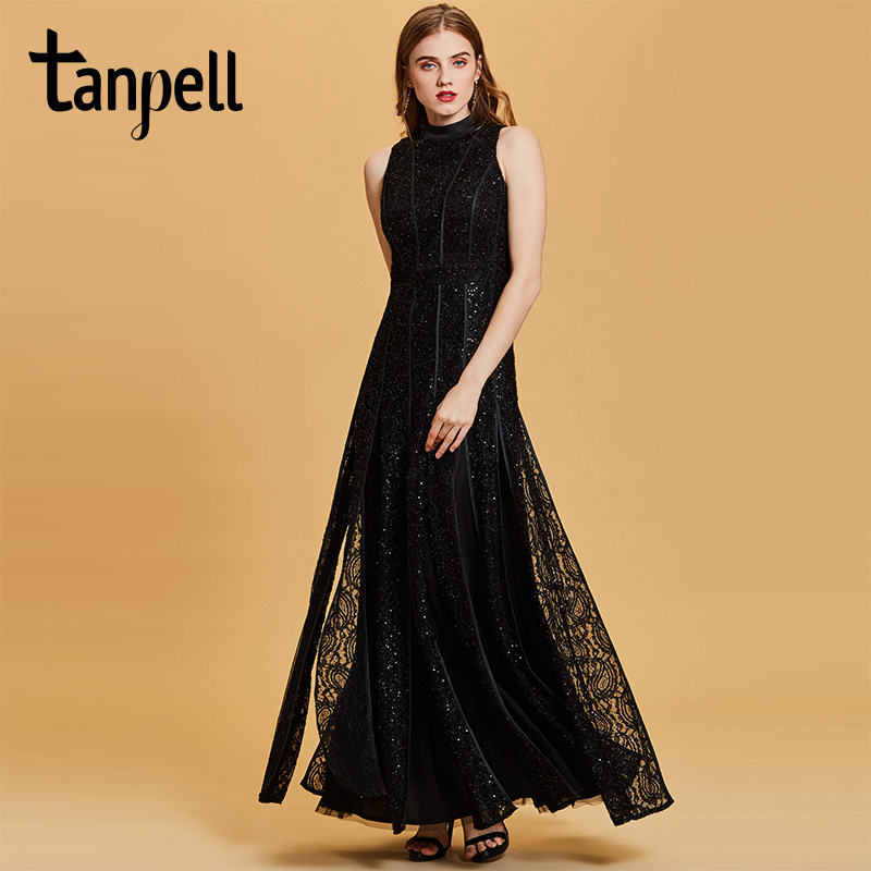Tanpell sequins long evening dress sexy black sleeveless floor length a line gown women scoop neck
