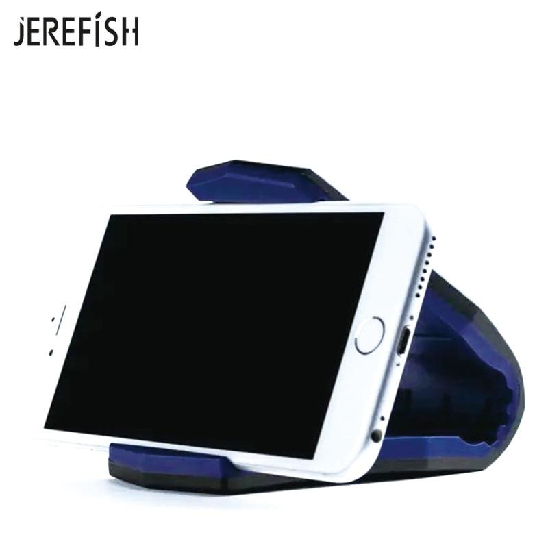 JEREFISH Universal Car Phone Holder Stand Adjustable Alligator Clip Vehicle-mounted Mobile Scaffold Holder Cradle Mount Bracket