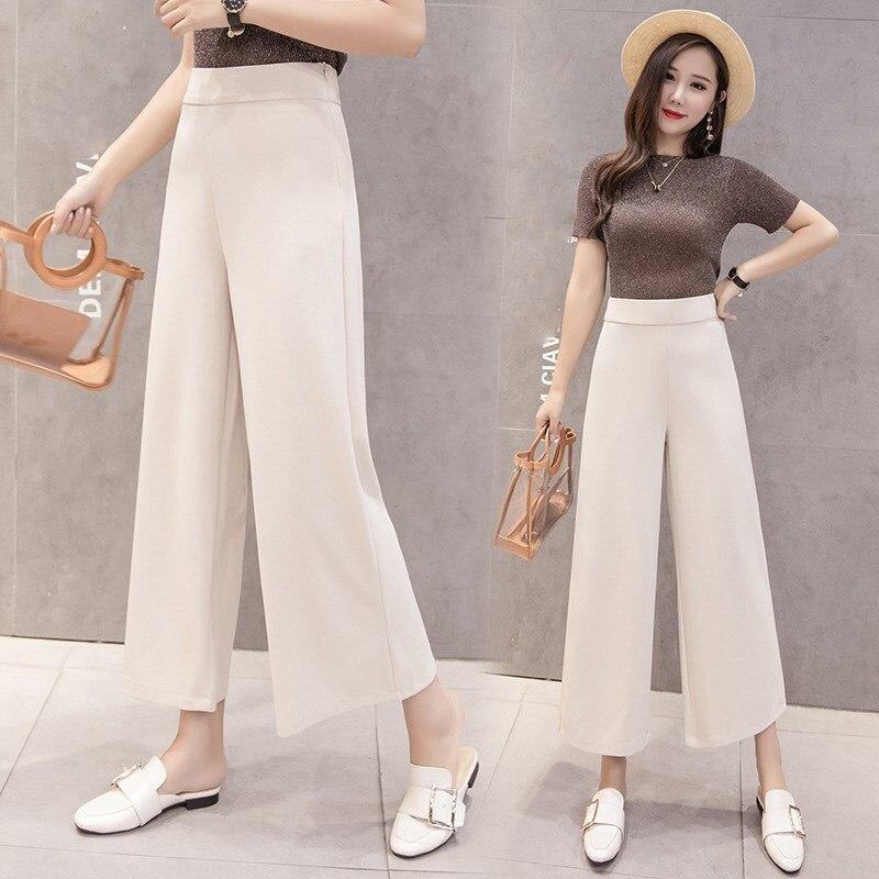 Womem Vintage Chiffon Office Trousers Loose 2019 Summer Elegant Zippers Elastic Waist   Wide     Leg     Pants