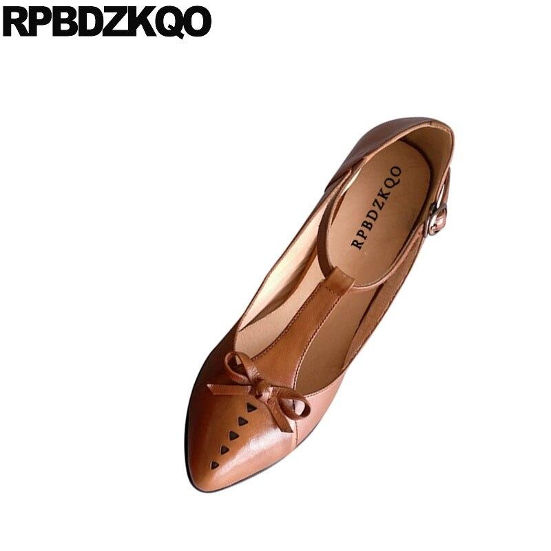 קשת פגיון T בר אוקספורד חתלתול יפני נעלי בינוני עקבים רצועת הבוהן מחודדת 2018 3 inch אביב אופנה נשים משאבות גבוהה חום