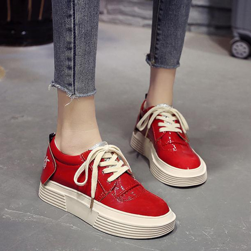 2019 spring new casual shoes Red black platform women 39 s shoes Flats fashion Round head flat Women Shoe huarche in Women 39 s Flats from Shoes